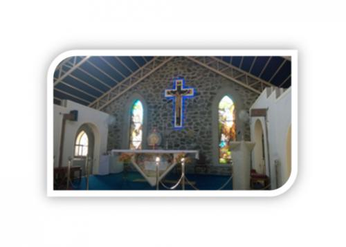 CHRUCH INSIDE ARCHIES ALONG WITH STONE WALL & GRANITE FRAMEING ALTER 2